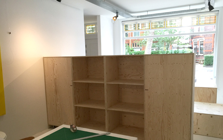 Installing of the new interior objects in Our Mr. Upside Gallery in Voorburg, The Netherlands today. New large cabinets, blocks and a textiles rack came in - Photo 4 of 10