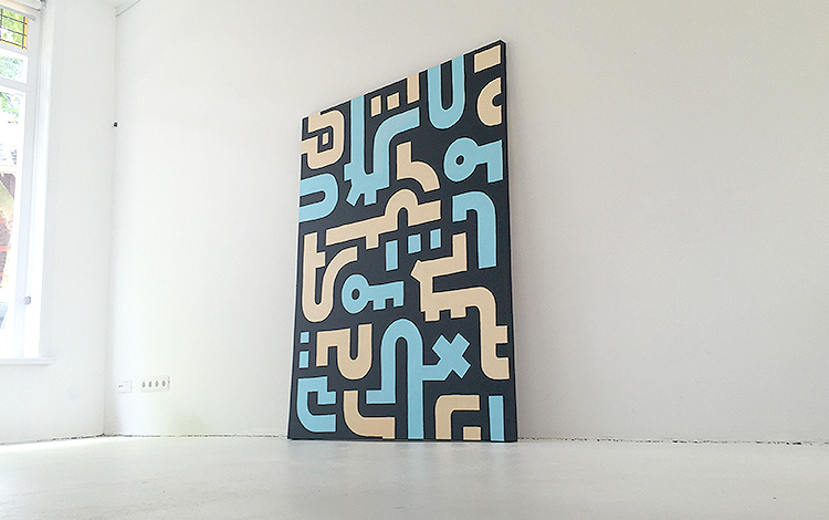 New painting in collection Dutch urban artist Mr. Upside called 'Working Day' in the Bold Lines series - Photo 5 of 6