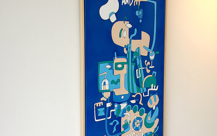 Photo 2 (left side) of a handmade illustration / painting, a commissioned artwork by KPN, a large Dutch telecommunications provider. Artwork is created by Dutch contemporary urban artist Michiel Nagtegaal / Mr. Upside.