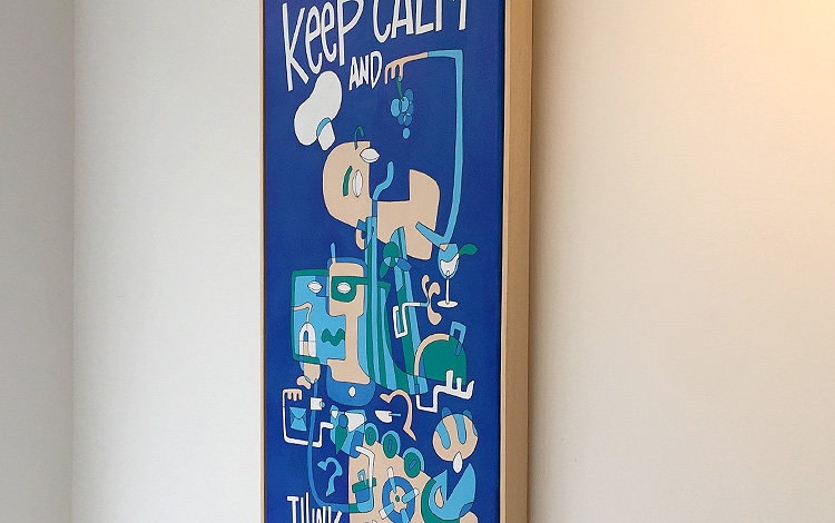 Photo 3 (right side) of a handmade illustration / painting, a commissioned artwork by KPN, a large Dutch telecommunications provider. Artwork is created by Dutch contemporary urban artist Michiel Nagtegaal / Mr. Upside.