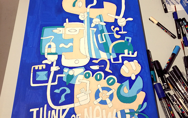 Work-in-progress photo of an illustration / artwork for Dutch telecommunications provider KPN, as a farewell gift to a leaving manager. The illustration is made with Posca paint markers on a linnen canvas of 50 x100 cm.