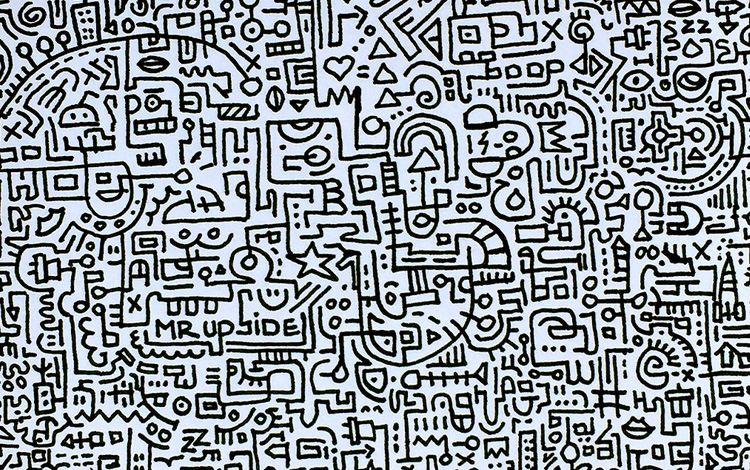Picture 3 - Doodle I is a small black and white illustration with lots of doodles on plain paper by Dutch contemporary artist Mr. Upside