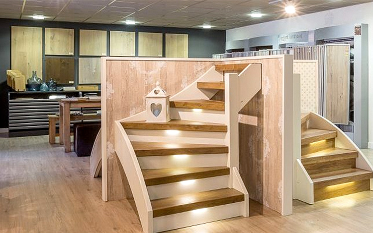 A look inside the showroom of Stairz, a stair renovation company in The Netherlands