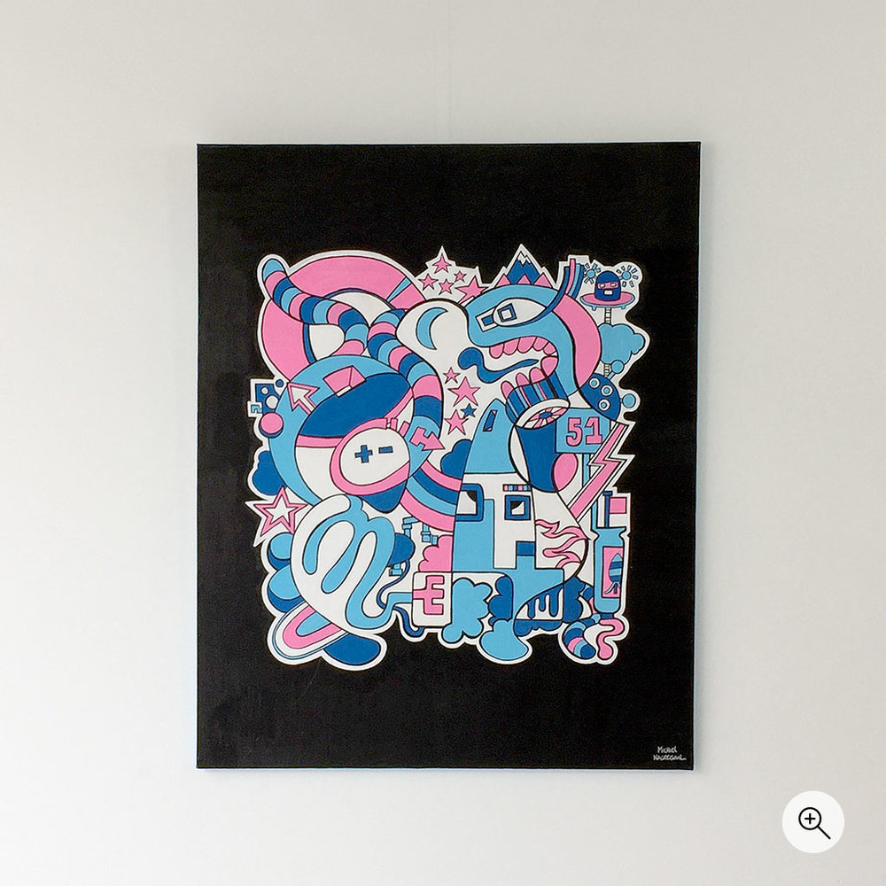 Artwork 'Space' by artist Mr. Upside is an illustration on canvas with a limited color scheme of pink and blues. Its made with Posca paint markers.
