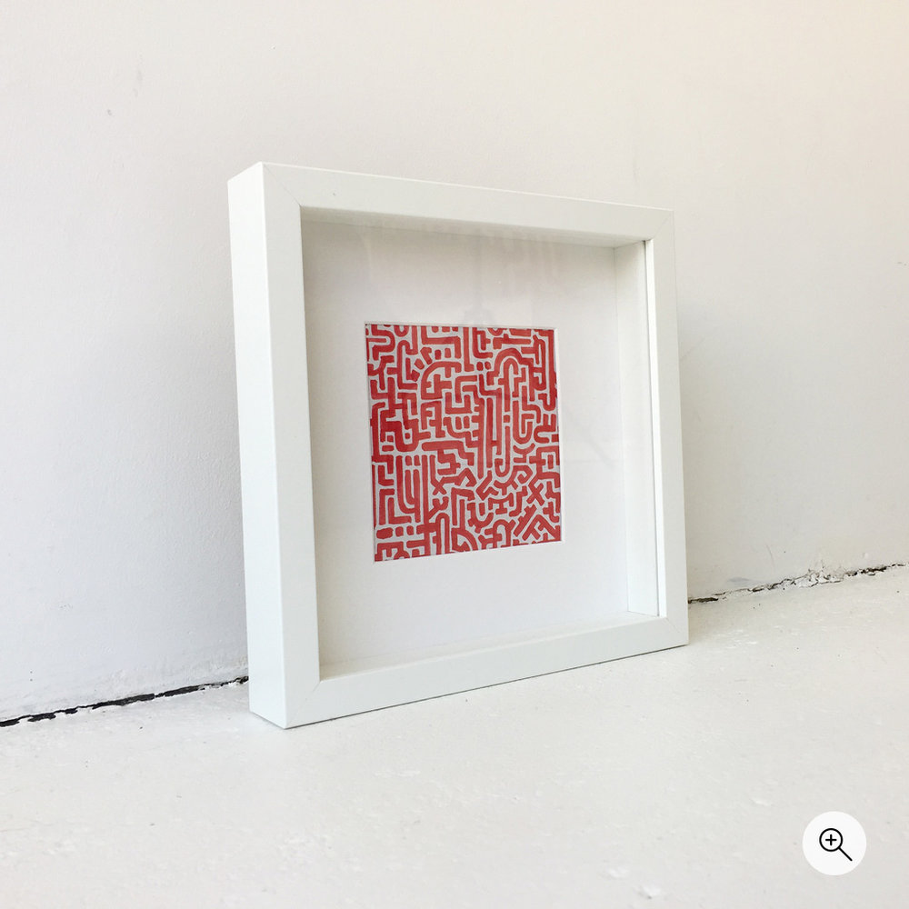 Photo 2 - Left side view of illustration / doodle 'Doodle II Red', a small illustration in red on regular paper by Dutch contemporary urban artist Michiel Nagtegaal / Mr. Upside.