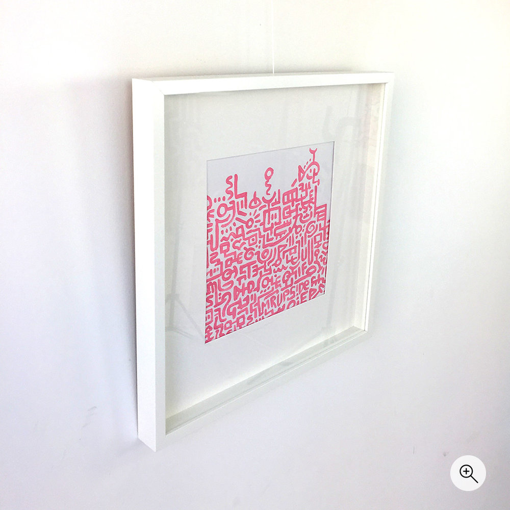Photo 1 of painted doodle / illustration 'Unfinished Sympathy' on heavy paper by Dutch contemporary urban artist Michiel Nagtegaal / Mr. Upside - Pink lines on white background