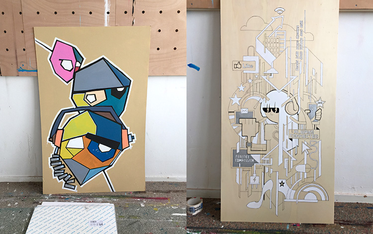 Picture 1 of some older and unfinished Mr. Upside artworks, found in the archive of my old studio.