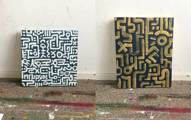 Picture 2 of some older and unfinished Mr. Upside artworks, found in the archive of my old studio.