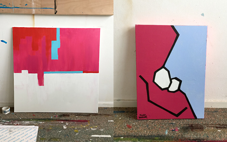 Picture 3 of some older and unfinished Mr. Upside artworks, found in the archive of my old studio.