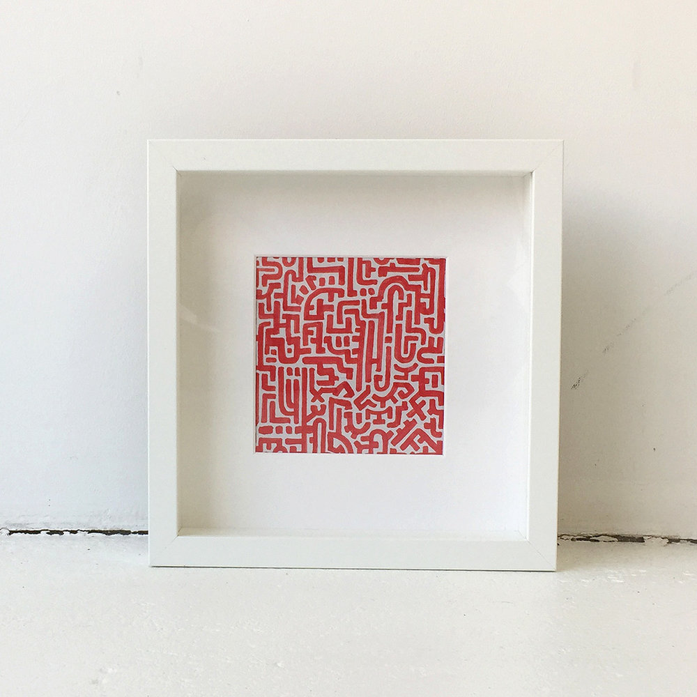Illustration 'Doodle II Red' is a small doodle by Dutch artist Mr. Upside, made with regular red marker on grey cardboard