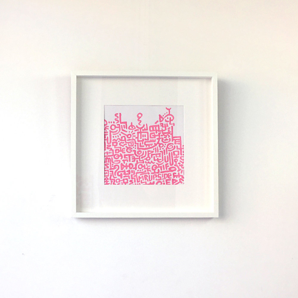 Artwork 'Unfinished Sympathy' is a painted illustration / doodle with pink lines on a white background by Dutch contemporary artist Mr. Upside / Michiel Nagtegaal