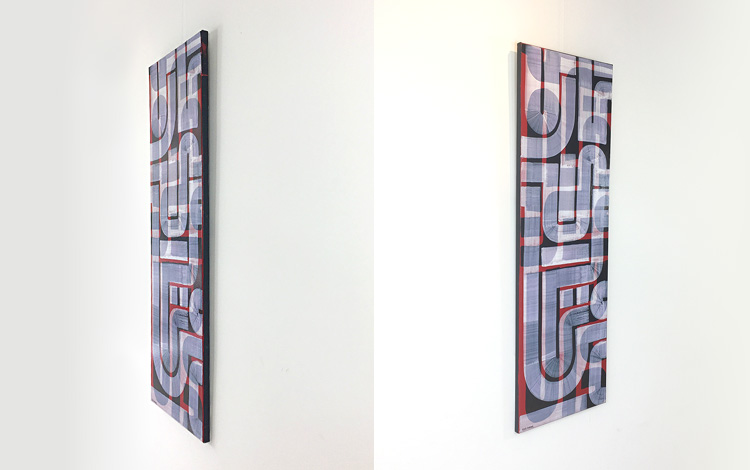 Left and right side view of the new abstract painting 'Honesty' in the webshop by Dutch urban artist Mr. Upside / Michiel Nagtegaal