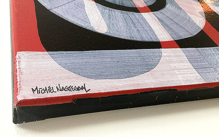 Close up view of the signature on the new abstract painting 'Honesty' in the webshop by Dutch urban artist Mr. Upside / Michiel Nagtegaal