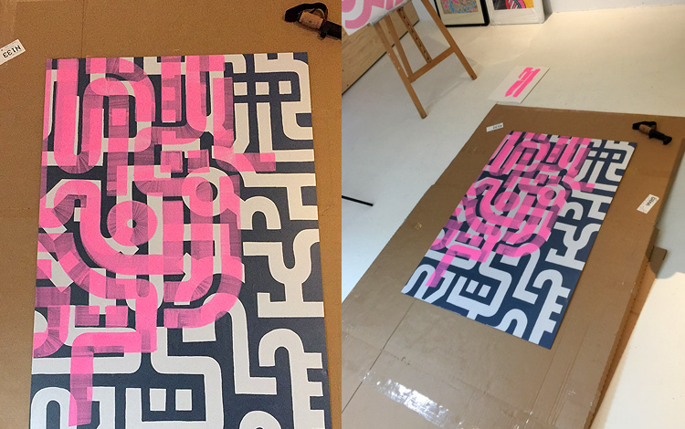 Work-in-progress shots of abstract artwork 'Flamingo Morning'. A painting with neon pink lines on a print on aluminum Dibond