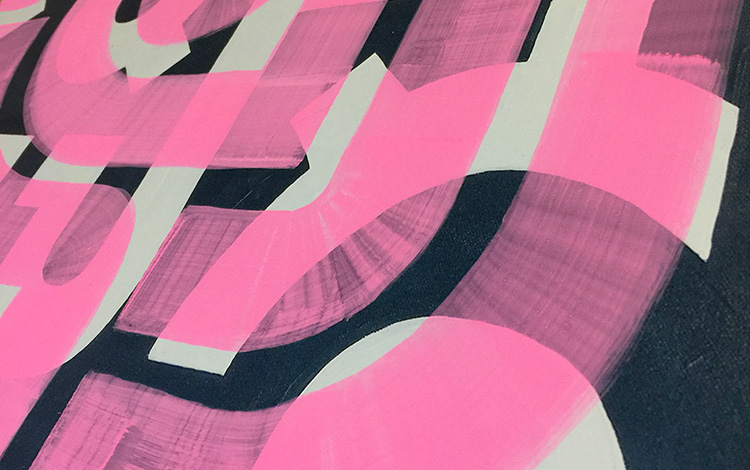 Close-up view of abstract artwork 'Flamingo Morning'. A painting with neon pink lines on a print on aluminum Dibond