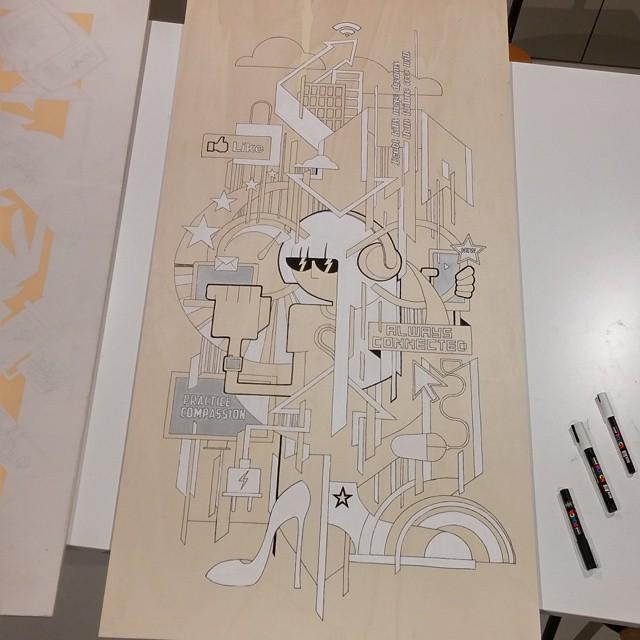 Illustration 'Internet' on wooden panel - Work-in-Progress