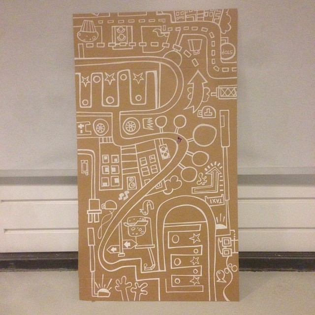 Illustration with white Posca paint markers on cardboard