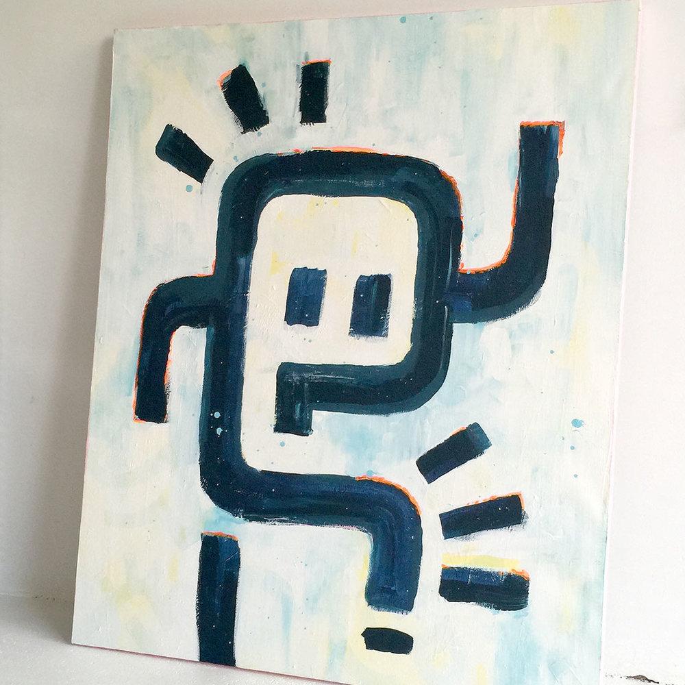 Picture 1/5 - Artwork / painting 'Astronaut' by Dutch artist Michiel Nagtegaal