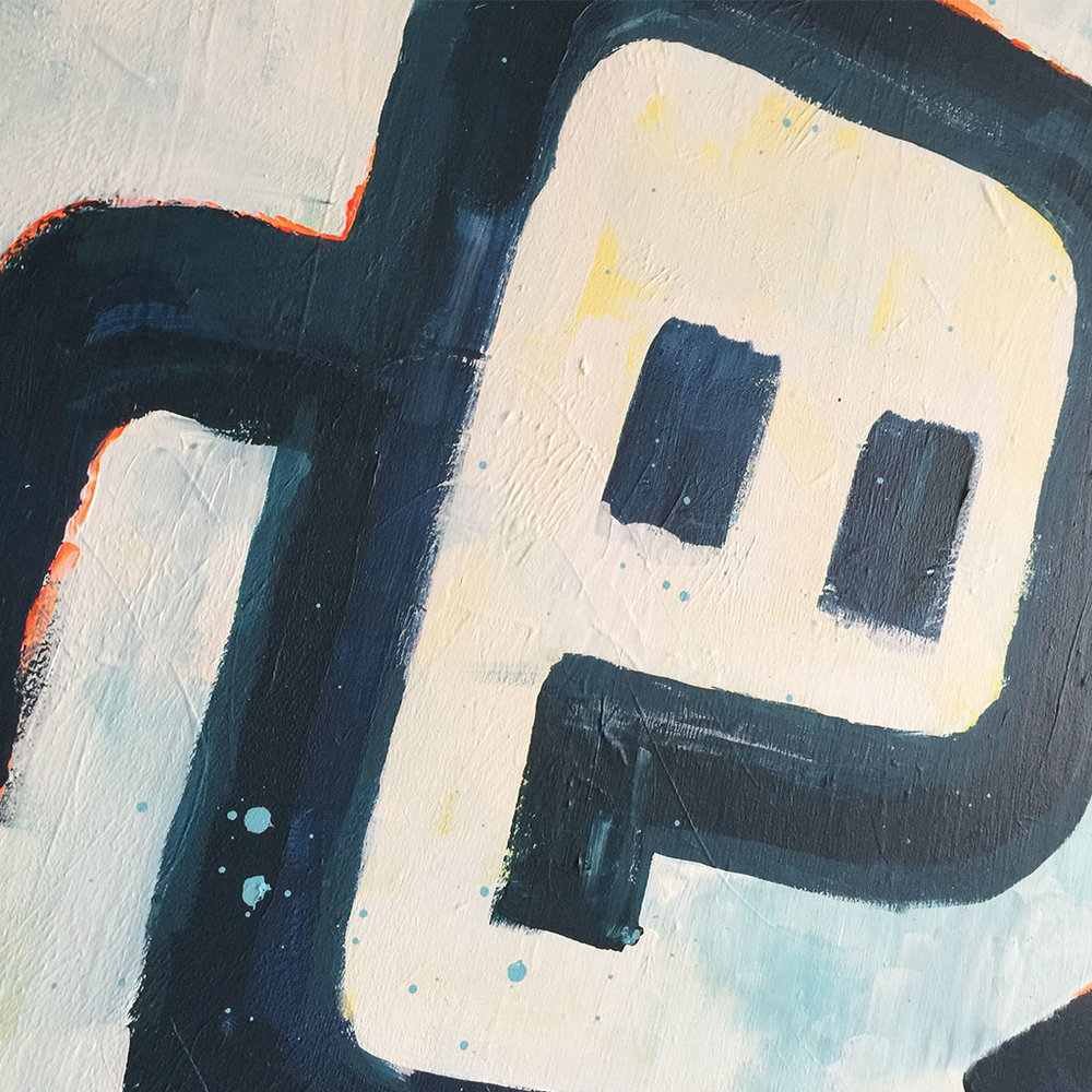 Picture 5/5 - Close up of artwork / painting 'Working Day' by Dutch artist Michiel Nagtegaal based in Voorburg, the Netherlands