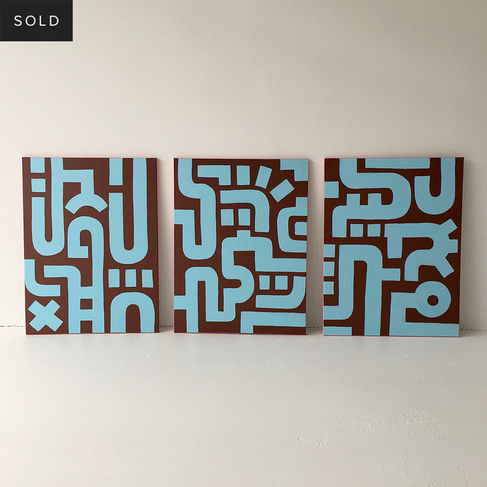 Picture 4/7 of Bold Blue on Brown I - a painting in a series of 3 on canvas by Dutch contemporary urban artist Michiel Nagtegaal