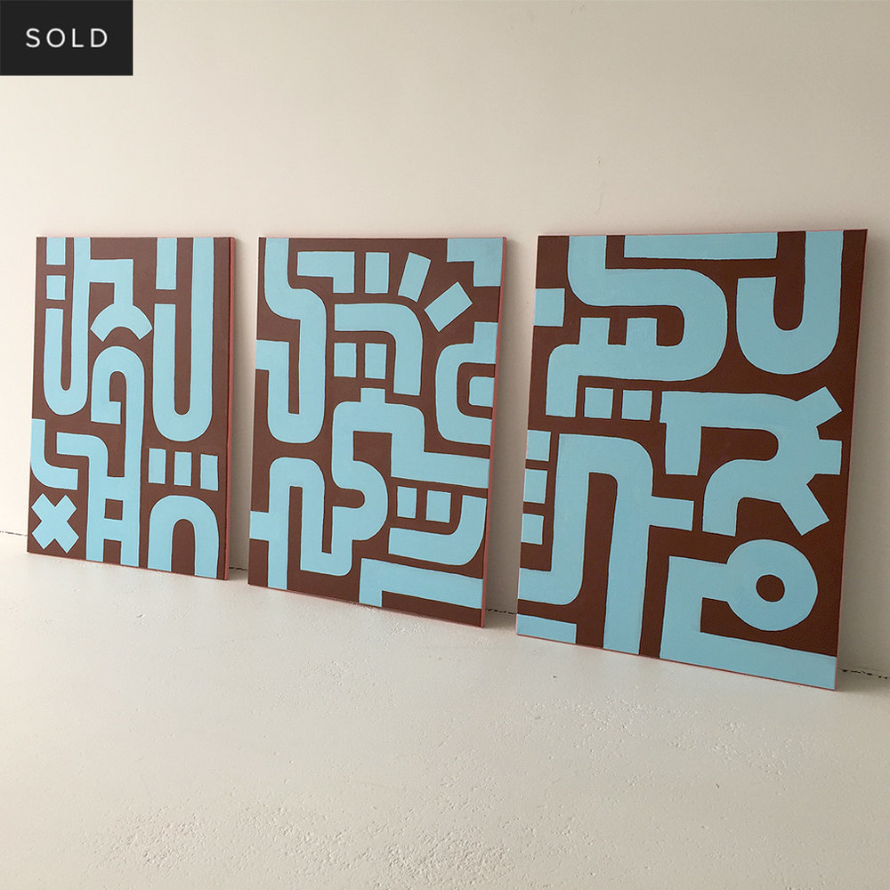 Picture 5/7 of Bold Blue on Brown I - a painting in a series of 3 on canvas by Dutch contemporary urban artist Michiel Nagtegaal / Mr. Upside.