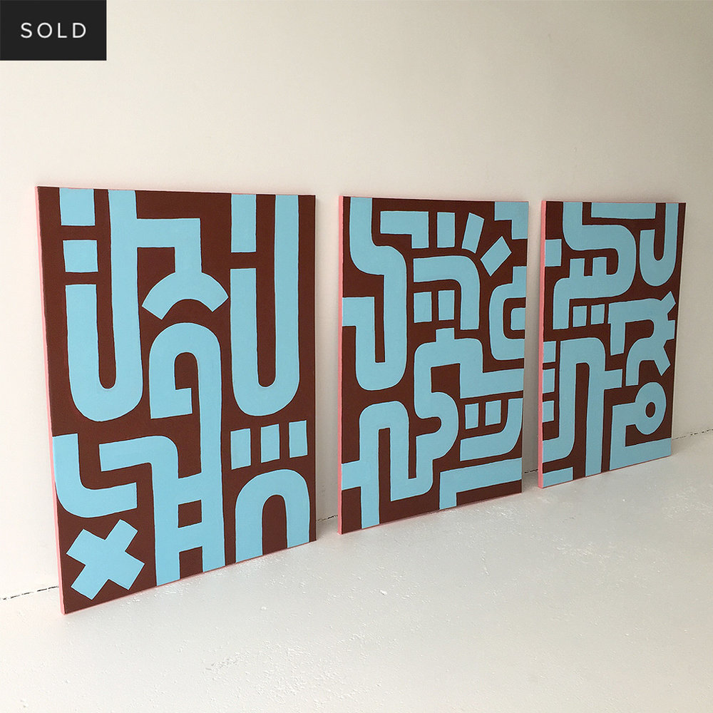 Picture 6/7 of Bold Blue on Brown I - a painting in a series of 3 on canvas by Dutch contemporary urban artist Michiel Nagtegaal / Mr. Upside.