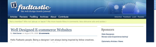 Fadtastic - A multi-author web design trends journal