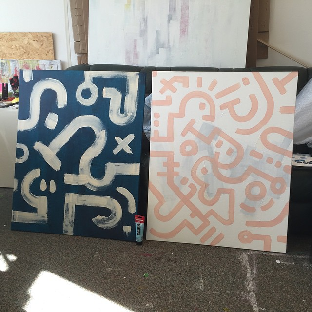 Paintings 'Denim Blue' (left)and an early, untitled painting - work-in-progress