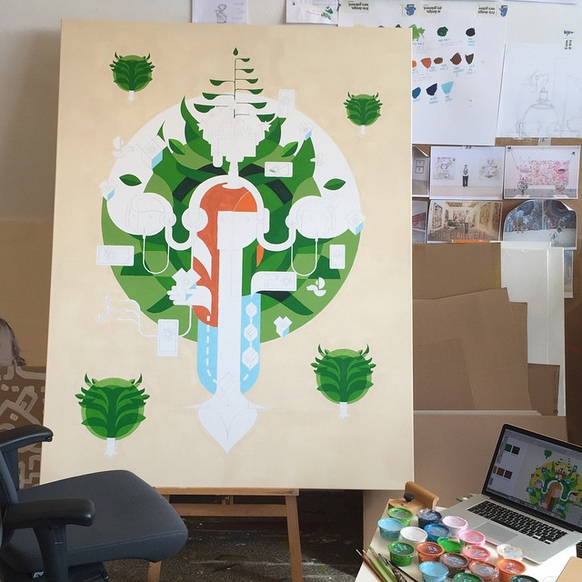 Progress on a commissioned painting for KPN - Ecosystem