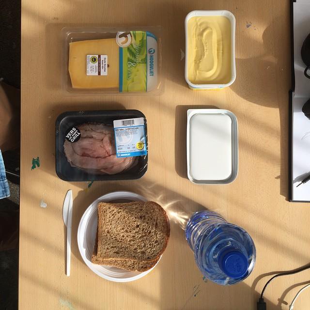 Typical Dutch lunch setup for artist Mr. Upside