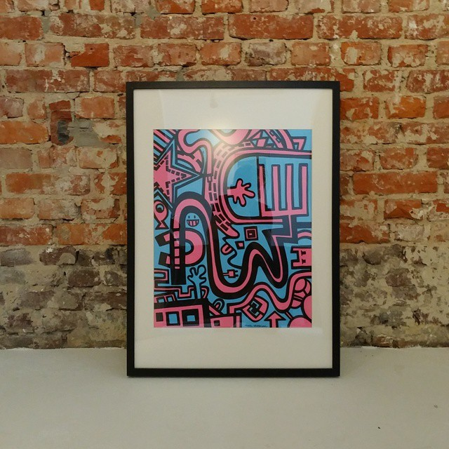 Finished and framed artwork 'Raging city in blue and pink'