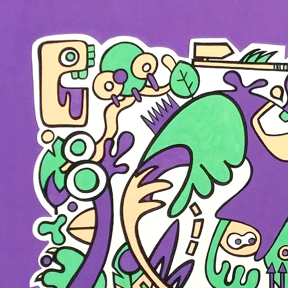 Picture 3 of 4 - Close up view of the top left corner of the illustration 'Jungle' on canvas