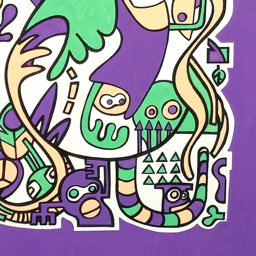 Picture 4 of 4 - Close up view of the top right corner of the illustration 'Jungle' on canvas