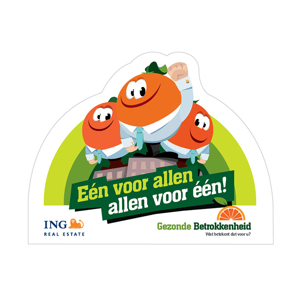 Cartoon character design for an internal project at ING Real Estate, 'Gezonde Betrokkenheid' (Healthy Involvement)