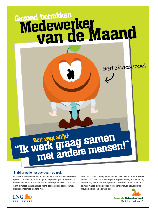 Poster design for an internal project at ING Real Estate, 'Gezonde Betrokkenheid' (Healthy Involvement)
