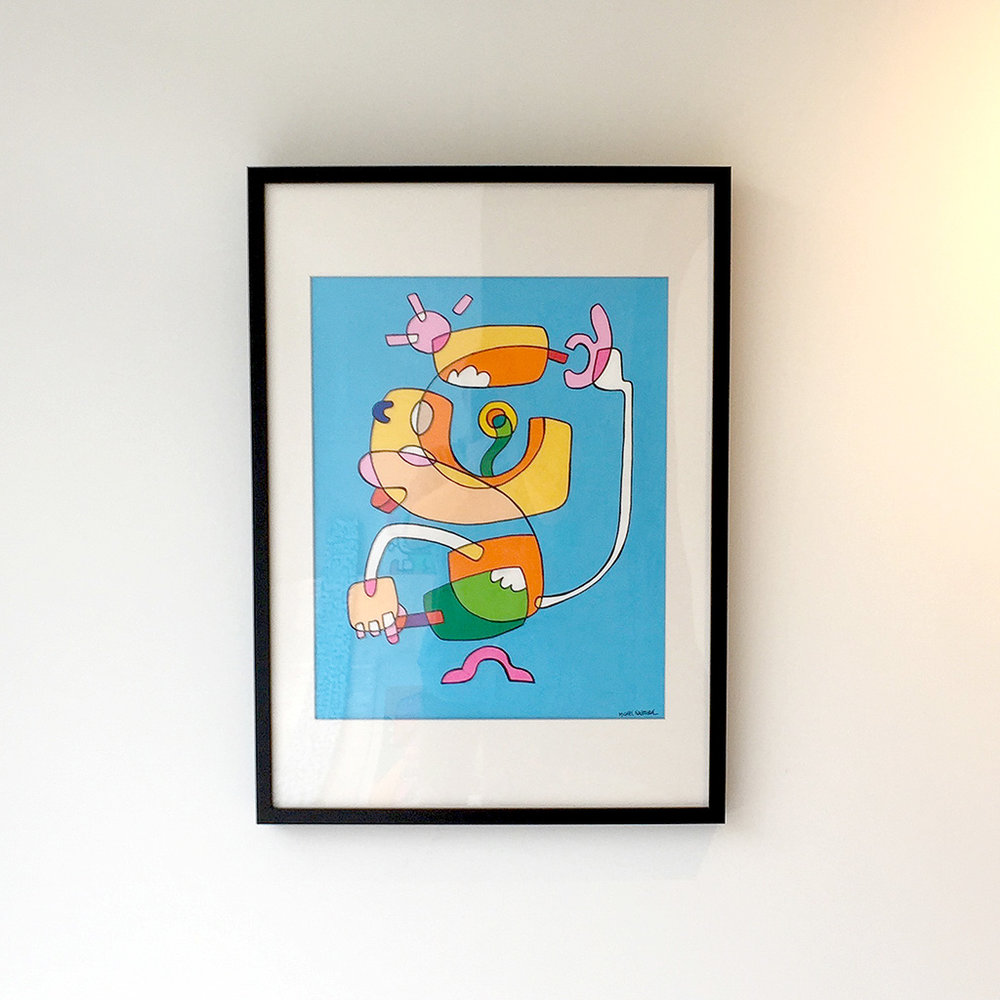 Picture 1 of 4 - Front view of the framed illustration 'Icecream Jedi' hanging on the wall in the Mr. Upside gallery in Voorburg, the Netherlands
