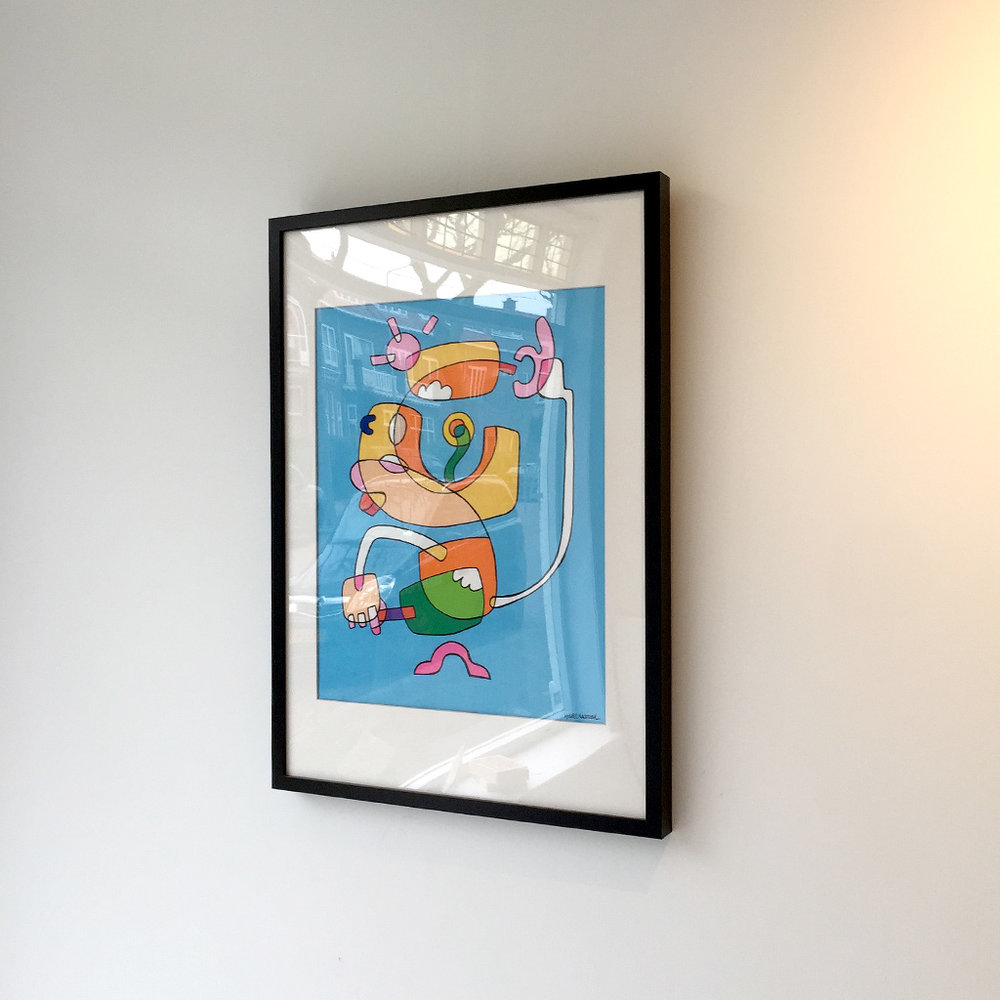 Picture 4 of 4 - Right side view of the framed illustration 'Icecream Jedi' hanging on a wall in the Mr. Upside Gallery