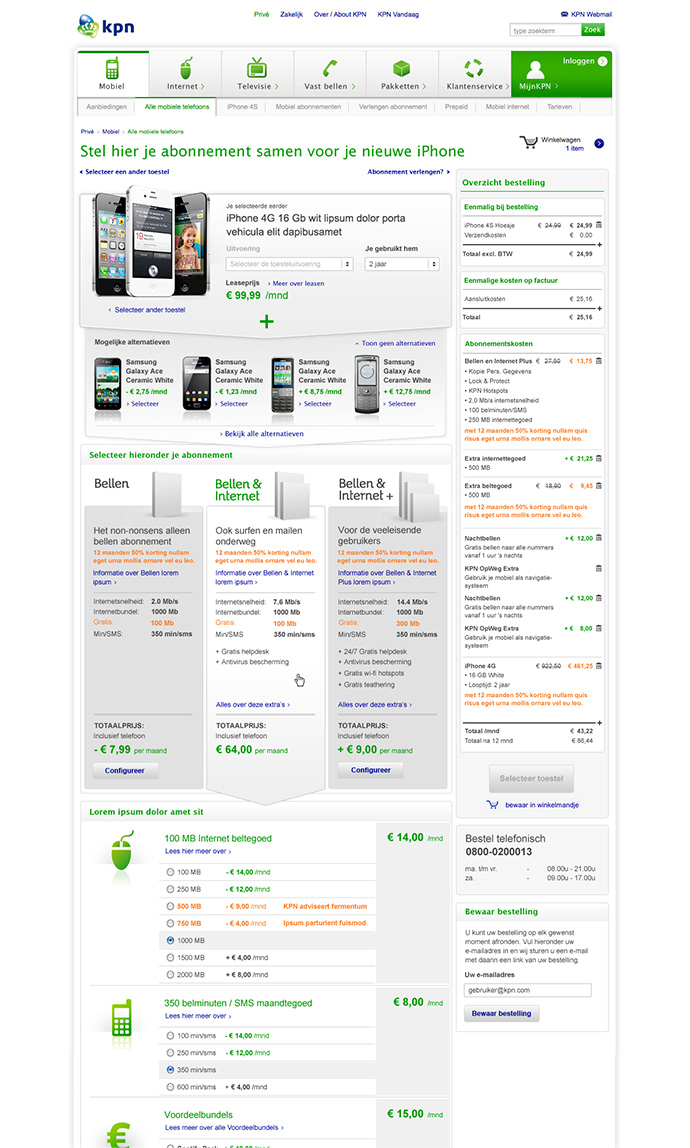Picture 3 of 12  - One of the less recent Mobile Plan Select Pages with a lot of visual cues to the product selection