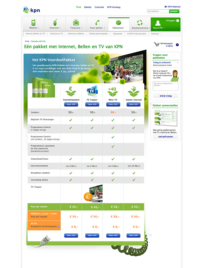 Picture 7 of 12  - Various KPN TV Plans on this Plan Select Page with a topheader partly incorporated