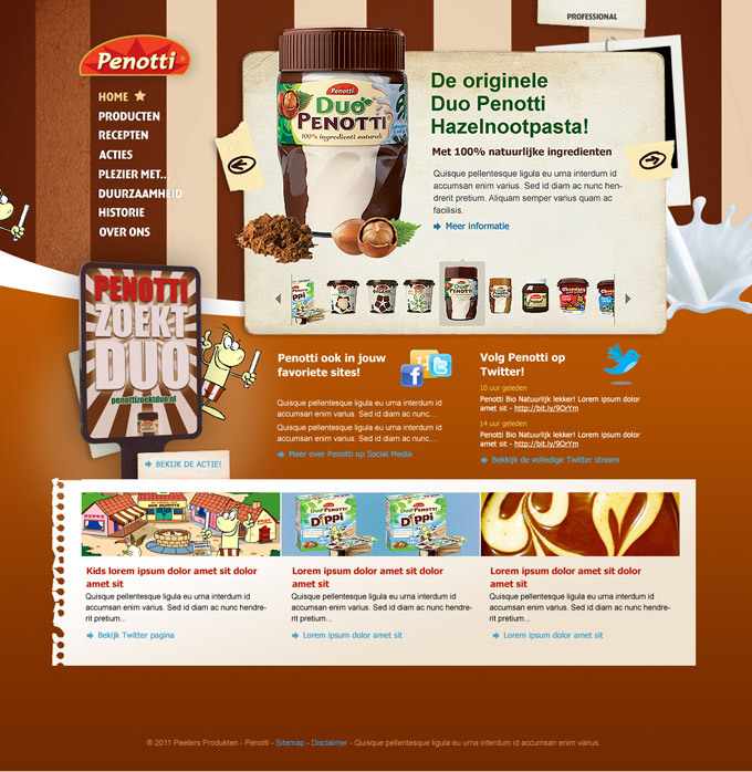 Picture 1 of 3  - Re-designed Promotional Homepage for Duo Penotti, a popular chocolate spread on bread in the Netherlands