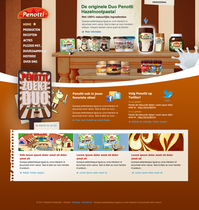 Picture 2 of 3  - Alternative Promotional Homepage with the use of a wooden table to support the 'chocolate, home feeling' of the product.