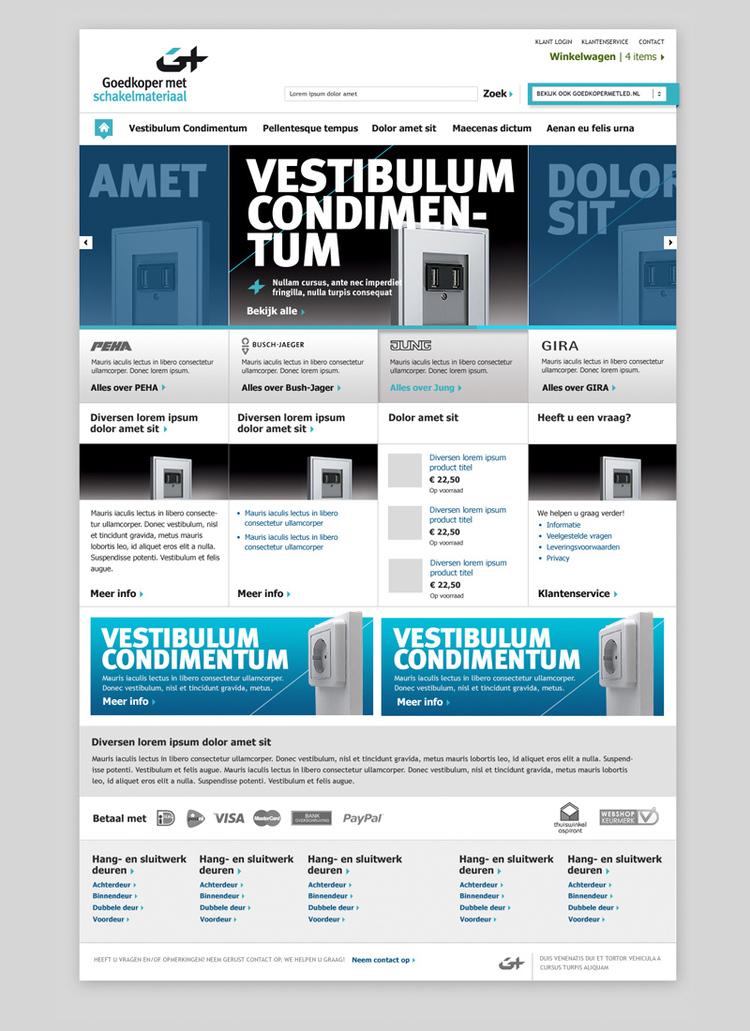 Picture 1 of 5  - Homepage - Magento Webshop Visual Design for Goedkopermet Schakelmateriaal