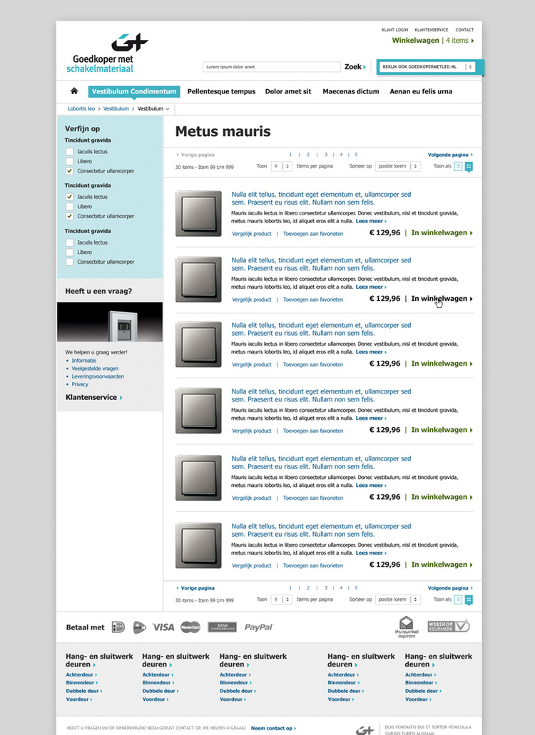 Picture 2 of 5  - Product Overview Page - Magento Webshop Visual Design for Goedkopermet Schakelmateriaal