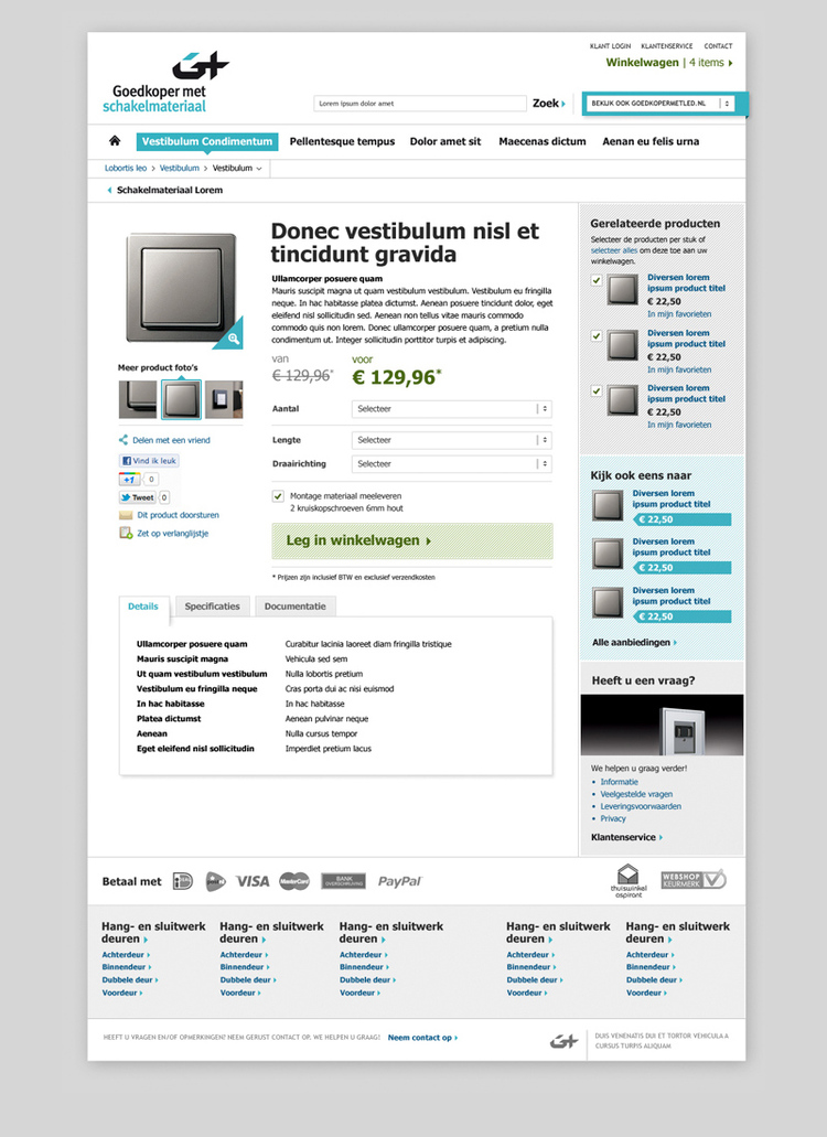 Picture 3 of 5  - Product Detail Page - Magento Webshop Visual Design for Goedkopermet Schakelmateriaal