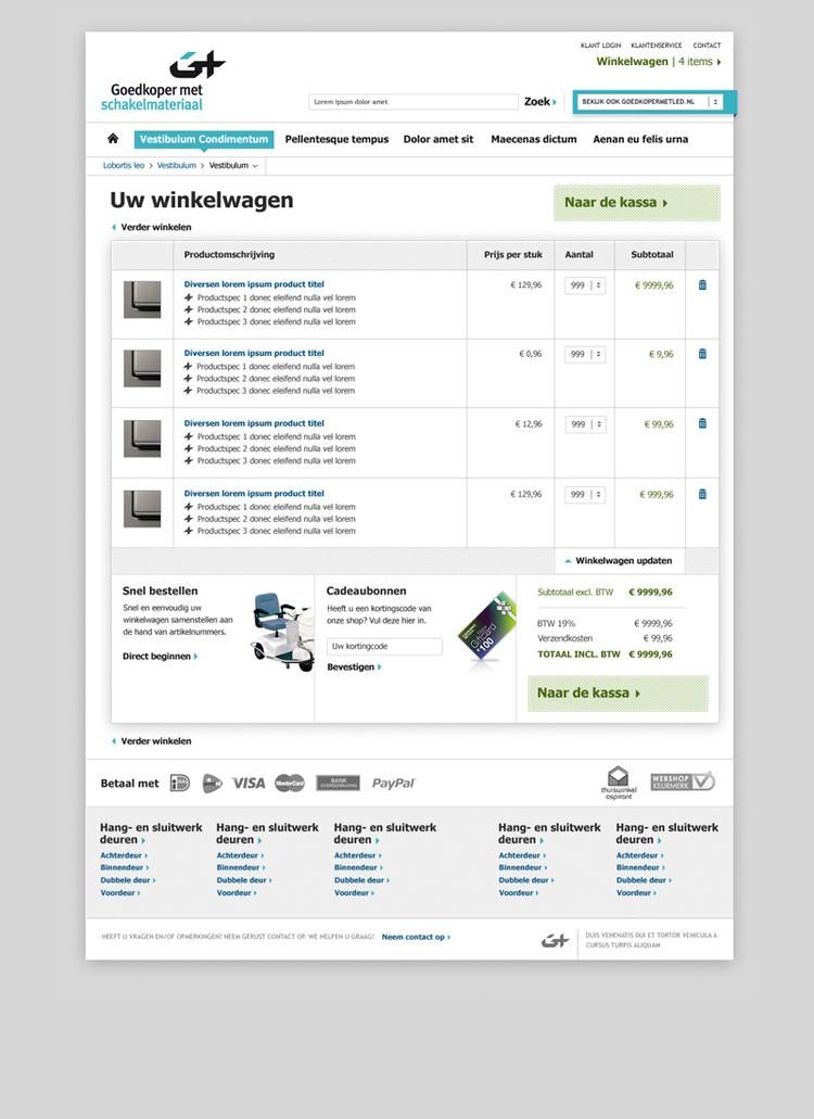 Picture 4 of 5  - Shopping Cart - Magento Webshop Visual Design for Goedkopermet Schakelmateriaal