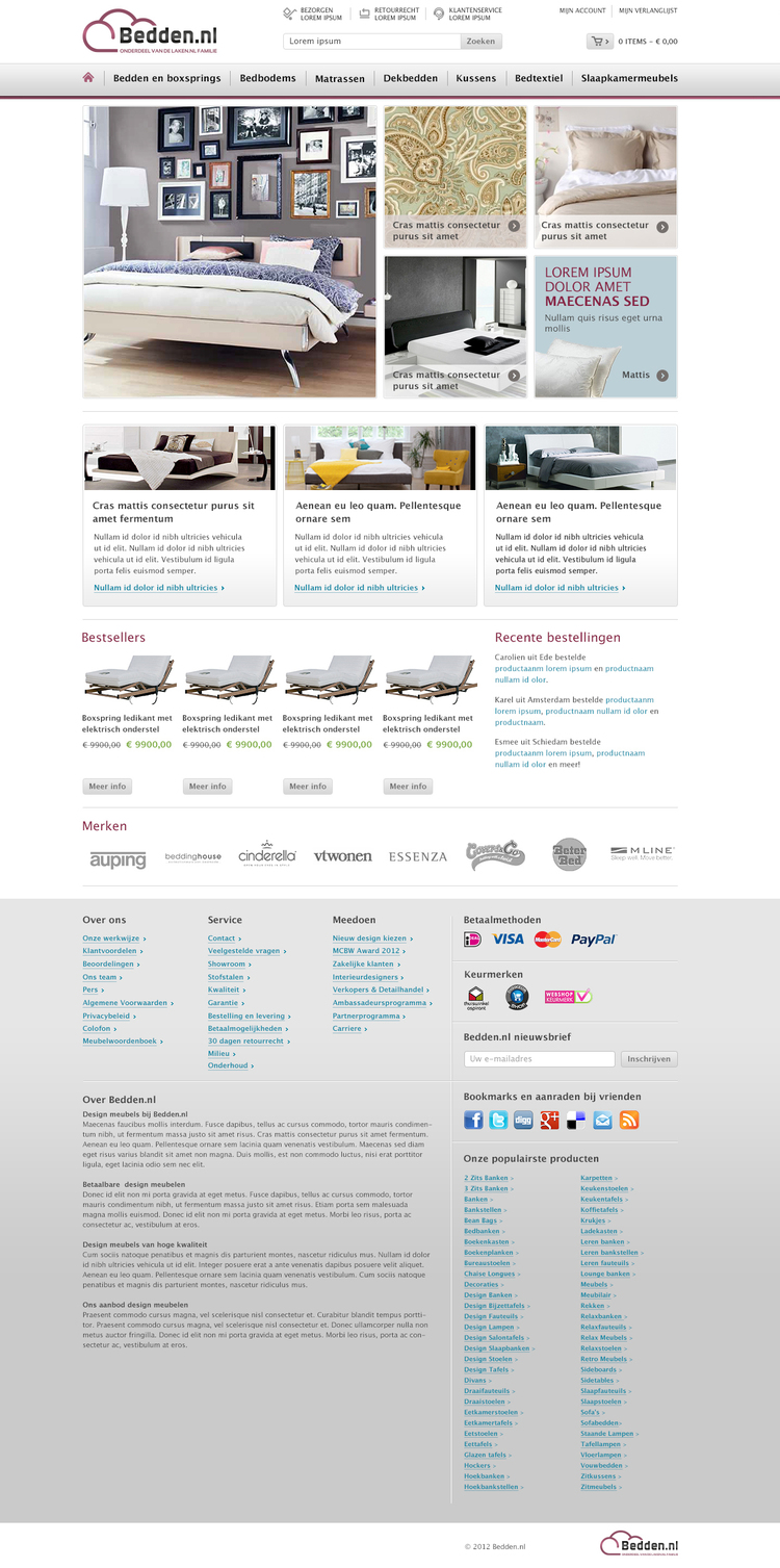 Picture 1 of 5  - Magento webshop 'Bedden.n' Homepage