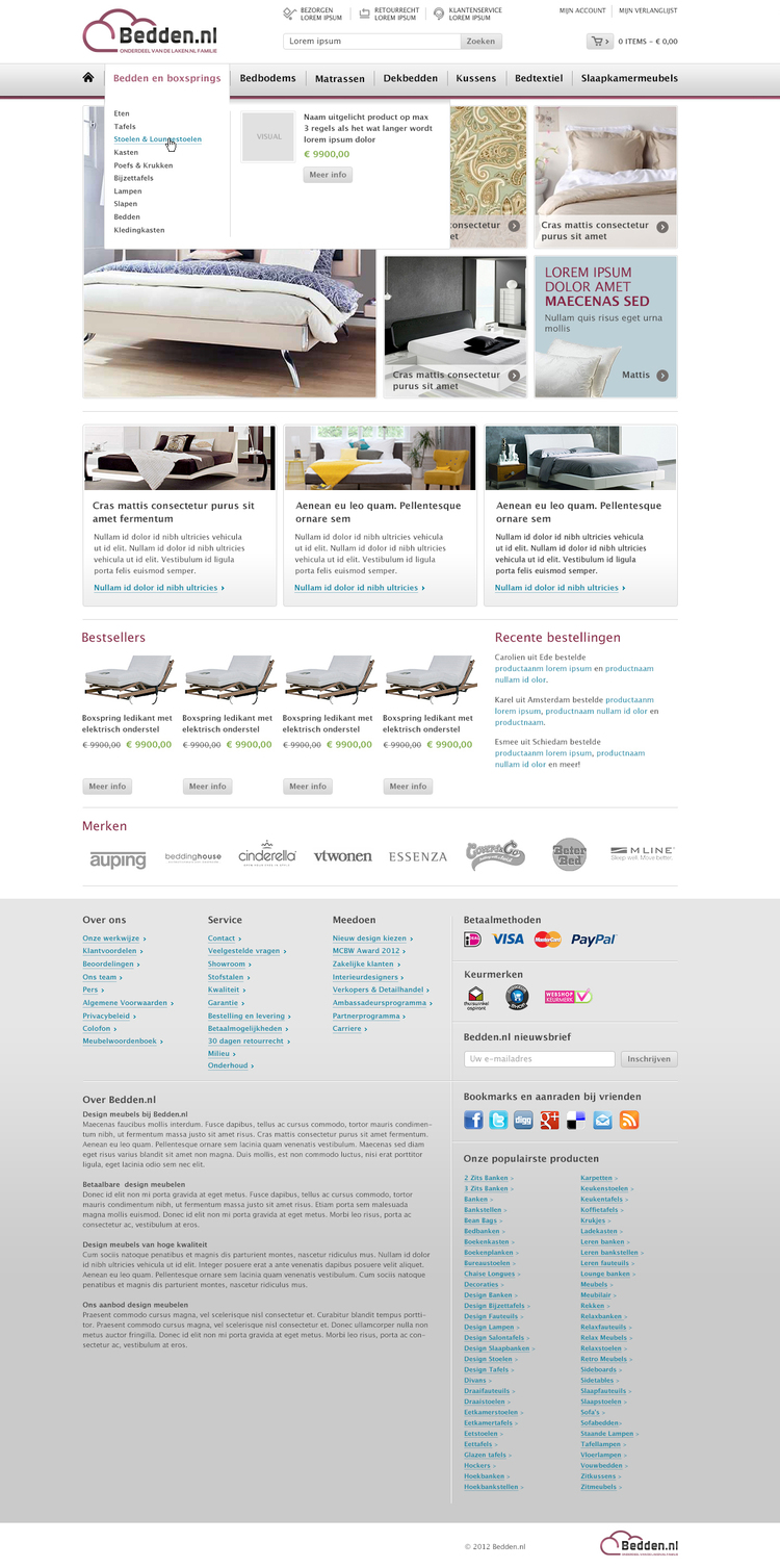 Picture 2 of 5  - Design of the Dropdown Menu in the Magento webshop Bedden.nl