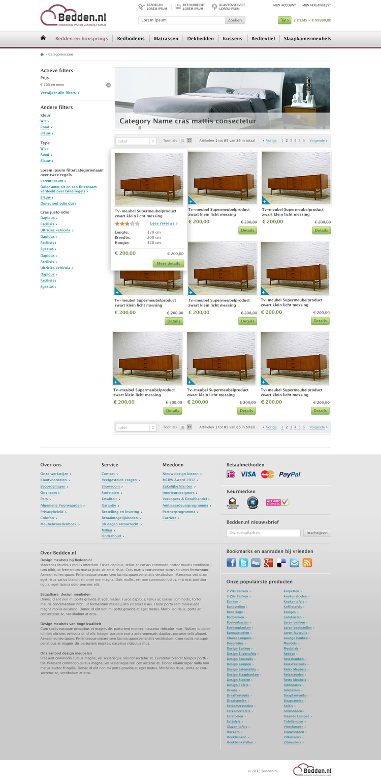 Picture 3 of 5  - Category Overview Page in the Magento webshop Bedden.nl