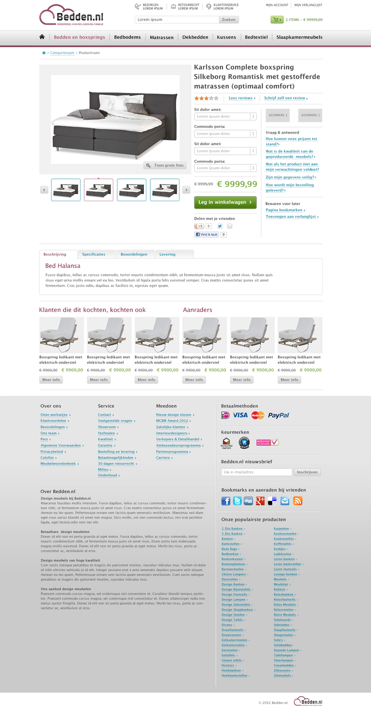 Picture 5 of 5  - Product Detail Page in the Magento webshop Bedden.nl