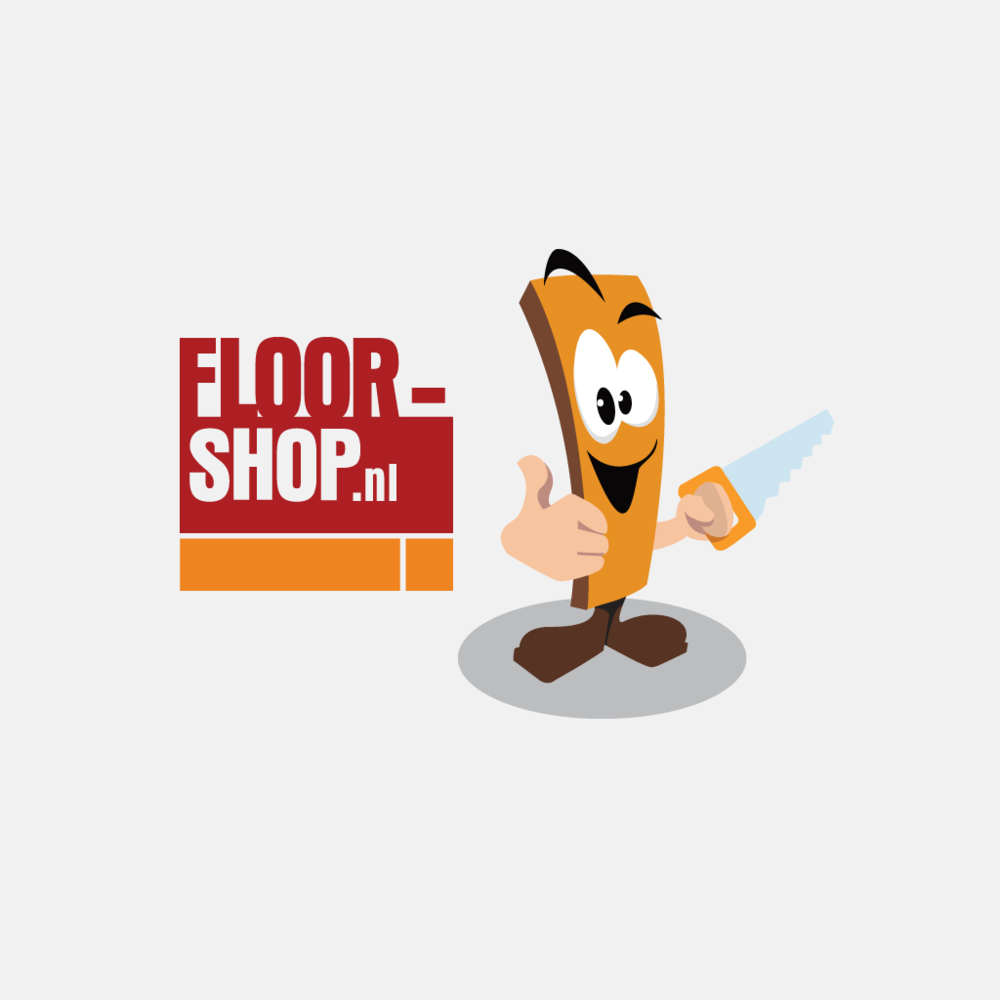 Floor-shop wordmark logo + cartoon character of A wooden plank